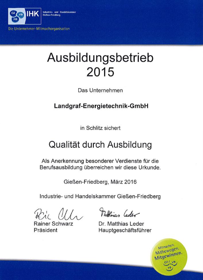 Ausbildungsbetrieb 2015