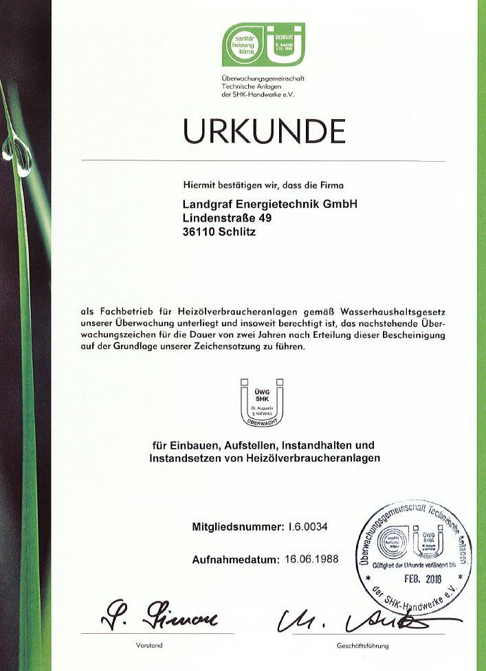 Urkunde Überwachungsgemeinschaft